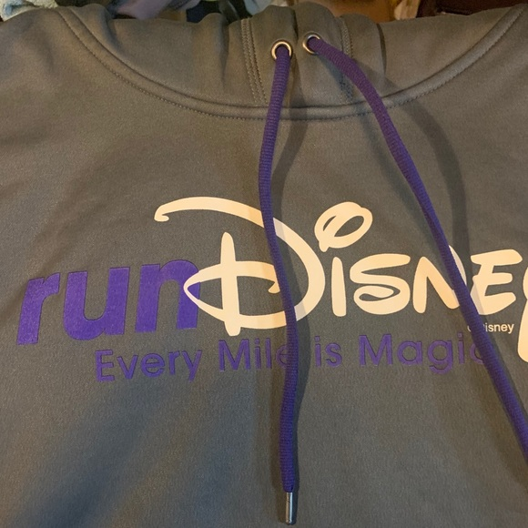 Run Disney grey and purple hoody sweatshirt
